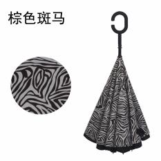 Jual Best Ct Unique Inside Out Umbrella With C Hook Handle Zebra Pattern Grosir