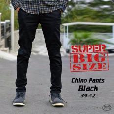 Best Seller! Celana Chino Panjang Hitam Premium Jumbo Chinopants Black 39 42 Formal TERBARU