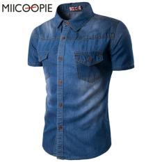 Beli Best Seller Fashion Pria Kemeja Jeans Kasual Pria Lengan Pendek Nicolas Biru Pake Kartu Kredit