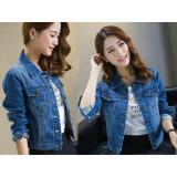 Jual Best Seller Lf Jacket Jeans Denim Jaket Jeans Wanita Premium Bomber Parka Rinaka Nr Biru Tua D2C Murah Dki Jakarta