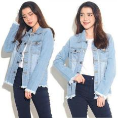 Toko Best Seller Lf Jacket Jeans Denim Oversize Jaket Jeans Wanita Premium Bomber Parka Loech Ingefr Vc Biru Muda D2C Online