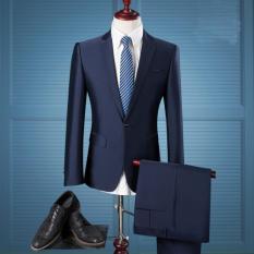 Best Seller - Stelan Jas Pengantin Pria - Blue Navy - Slim Fit