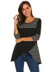 Terbaik Penjual Sunwonder Mode untuk Wanita O-Leher 3/4 Lengan Bergaris Kemeja Hem Tinggi Rendah (Hitam)