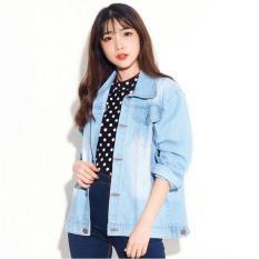 Best Seller Uc Jaket Denim Oversize Jacket Jeans Wanita Premium Bomber Parka Raza Vc Biru Muda Unicell Distro Diskon 40