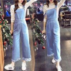 [BEST SELLER] UC Overall Kulot Denim / Jumpsuit Jeans Wanita Premium / Baju Jamsuit Celana Kodok / Setelan (ritana lotku) VC - BIRU MUDA - Setelan Wanita /Jamsuit / Jamsuit Wanita / Celana Panjang / Celana Kodok / Baju Kodok D2C