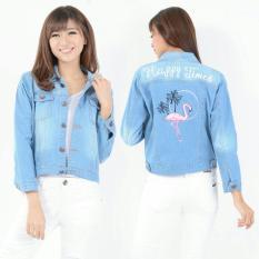 Jual Best Seller Uc Jaket Denim Plus Bordir Jacket Jeans Wanita Premium Bomber Parka Amingofl Vc Biru Muda Original