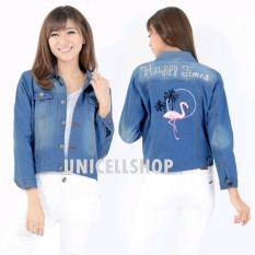 Harga Best Seller Uc Jaket Denim Plus Bordir Jacket Jeans Wanita Premium Bomber Parka Amingofl Vc Biru Tua Unicell Distro Baru