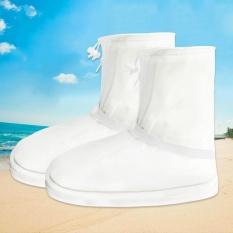 Terbaik Jual Fashion Pria dan Wanita Sol Yang Menebal Rain Boots Cover Waterproof Pembalut Sepatu Cover (Putih)-Intl