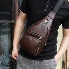 Tas Slempang & Sling Bag Batam Murah Model Retro Bahan Kulit Warna Coklat Tua