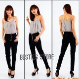 Jual Besties Jessy High Waist Soft Jeans Celana Fashion Wanita Navy Baru