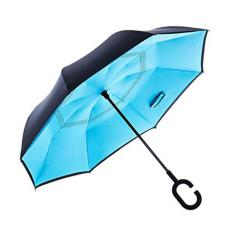 Jual Beli Betterlife Reverse Inverted Double Layer Waterproof Straight Umbrella Self Standing C Shape Handle Carrying Bag For Free Hands Inside Out Folding For Car Use Light Blue Tiongkok