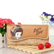 Jual Betty Boop Korea Fashion Style Dua Kali Lipat Imut Paket Telepon Baru Dompet Wanita Beige Kartun Betty Boop Original