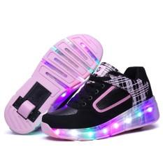 Bevoker Unisex Anak-anak LED Sepatu Light Up Roller Skate Sepatu Berkedip Sneakers (single Roda)-Intl