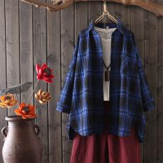 Jual Beli Bf Korea Fashion Style Musim Semi Dan Musim Panas Baru Angin Kotak Kotak Kemeja Biru