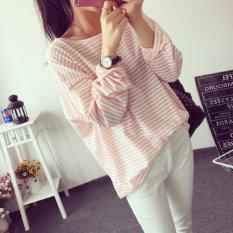 BF Korea Fashion Style Musim Semi Dan Musim Gugur Baru Terlihat Langsing T-shirt (Merah Muda Warna) baju wanita baju atasan kemeja wanita