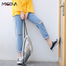 Harga Bf Korea Fashion Style Perempuan Baru Musim Semi Lurus Sembilan Celana Longgar Jeans Light Blue Online Tiongkok
