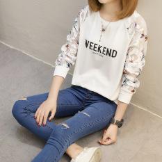 Jual Xianyuansu Kaos Wanita Lengan Panjang Motif Tulisan Renda Model Longgar 2 Warna 158 Putih Lengkap