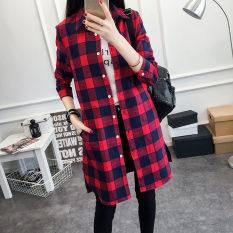Diskon Bf Perempuan Slim Tipis Lengan Panjang Yard Besar Kemeja Kotak Kotak Kemeja Merah Merah Baju Wanita Baju Atasan Kemeja Wanita Tiongkok