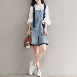 Beli Bf Segar Kecil Siswa Perempuan Suspender Celana Sepotong Denim Overall Light Blue Murah Tiongkok