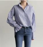 Harajuku Kemeja Korea Fashion Style Biru Bergaris Longgar Biru Bergaris Other Diskon 50