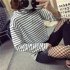 BF versi Korea dari leher bulat tipis bergaris lengan panjang kemeja t-shirt (Hitam