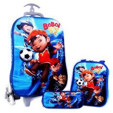 Harga Bgc Boboi Boy Koper Set Troley T Samurai Lunch Box Kotak Pensil 3D Timbul Import Hard Cover Tas Anak Sekolah Biru Bgc