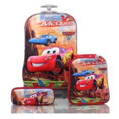 Diskon Bgc Disney Cars Red Dessert Koper Set Troley T Lunch Box Kotak Pensil 3D Timbul Import Hard Cover Tas Anak Sekolah Merah Bgc