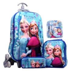 BGC Disney Frozen Elsa Anna Blue Snow 2 Koper Set Troley T + Lunch Box + Kotak Pensil + Alat Tulis 3D Hard Cover Tas Anak Sekolah