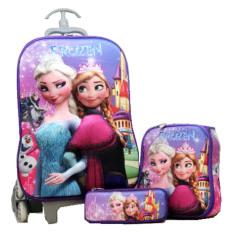 BGC Disney Frozen Elsa Anna Castle Koper Set Troley T + Lunch Box + Kotak Pensil 3D Timbul Import Hard Cover Tas Anak Sekolah