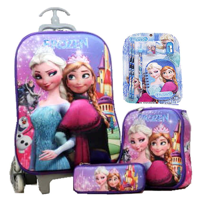 ... BGC Disney Frozen Elsa Anna Castle Koper Set Troley T + Lunch Box + Kotak Pensil
