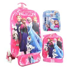 BGC Disney Frozen Elsa Anna Olaf Prince Hans Pink Koper Set Troley T 3D Timbul Import  6 Roda Tas + Lunch Bag + Kotak Pensil + Alat Tulis Sekolah Anak Hard Cover