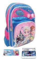 BGC Disney Frozen Fever Elsa Anna Blue Pink Pita IMPORT 3 Kantung Tas Ransel Anak Sekolah SD + Kotak Pensil + Alat Tulis
