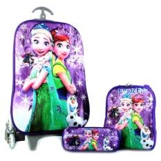 BGC Disney Frozen Fever Elsa Purple Snow Anna Koper Set Troley T + Lunch Box + Kotak Pensil 3D Hard Cover Tas Anak Sekolah