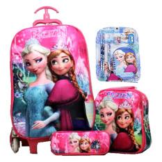 BGC Disney Frozen Pink Crown Koper Set Troley T + Lunch Box + Kotak Pensil + Alat Tulis 3D Timbul Import Hard Cover Tas Anak Sekolah