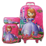 Jual Bgc Disney Sophia Frozen Friends Koper Set Troley T Lunch Box Kotak Pensil 3D Timbul Hard Cover Tas Anak Sekolah Pink Branded Murah