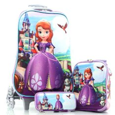 BGC Disney Sophia Frozen Friends Koper Set Troley T + Lunch Box + Kotak Pensil 3D Timbul Hard Cover Tas Anak Sekolah - Ungu