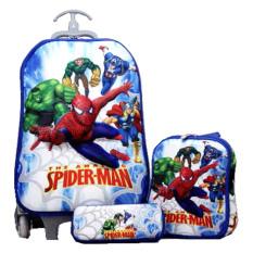 BGC Marvel Avenger and Spiderman Koper Set Troley T + Lunch Box + Kotak Pensil 3D Timbul Import Hard Cover Tas Anak Sekolah