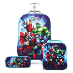 BGC Marvel Avenger Assemble Iron Man Captain America And Thor Koper Set Troley T + Lunch Box + Kotak Pensil 3D Timbul Import Hard Cover Tas Anak Sekolah
