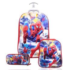 BGC Marvel Spiderman Koper Set Troley T + Lunch Box + Kotak Pensil 5D Timbul HOLOGRAM Import Hard Cover Tas Anak Sekolah