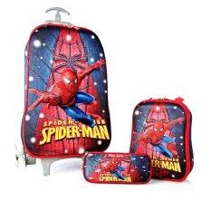 Harga Bgc Marvel Spiderman Star Koper Set Troley T Lunch Box Kotak Pensil 3D Timbul Import Hard Cover Tas Anak Sekolah Merah Biru Terbaru