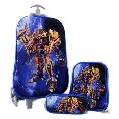 Ulasan Bgc Transformer Bumble Bee Vs Optimus Prime 2 Koper Set Troley T Lunch Box Kotak Pensil 3D Timbul Import Hard Cover Tas Anak Sekolah Biru