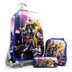BGC Transformer Bumble Bee vs Optimus Prime Koper Set Troley T + Lunch Box + Kotak Pensil 3D Timbul Import Hard Cover Tas Anak Sekolah