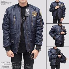 BGSR Jaket Bomber Pria Pocket Zipper Navy