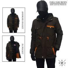 Spesifikasi Jaket Pria Parka Dark Brown List Orange Terbaru