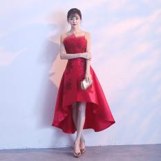 Spesifikasi Gaun Malam Perjamuan Kecil Baju Pelayanan Baru Musim Panas Arak Anggur Warna Baju Pelayanan Depan Pendek Belakang Panjang Oem Terbaru