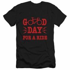 Sepeda Baru Huruf Nyaman Kaus Pria Merek Pakaian Modis Musim Panas Kaus Pria Terbaik Kualitas 100% Katun Pendek Atasan Tee hitam 01-Internasional