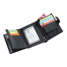 Spesifikasi Bifold Wallet Men Genuine Leather Black Credit Id Card Holder Slim Purse Intl Yg Baik