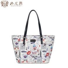 Promo Danny Beruang Dbwb6116003 Perempuan Produk Baru Tas Belanja Tas Bahu Off White Dengan Biru Tiongkok