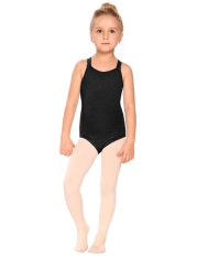 Diskon Besar Girls Gym Dance Spaghetti Strap Back Rhombus Harness Solid Leotard (Hitam)-Intl