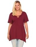 Harga Termurah Diskon Besar Wanita Plus Ukuran Casual Keyhole Lengan Pendek Asimetris Peplum Top T Shirt Merah Gelap Intl